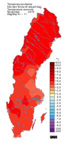 November 1-11, 2015. 3 till 5 grader varmare än normalt, enligt SMHI.