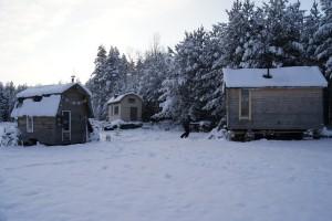 Tre hus på jul vid skogsbrynet. Foto: Agata Mazgaj