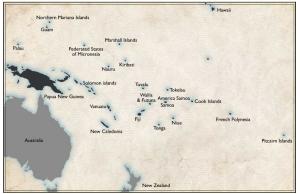 Önationerna i Mikronesien enligt truepacificdotcom. Här finns cirka 40 miljoner invånare, inkluderar Australien, Nya Zeeland och Papua nya Guinea.